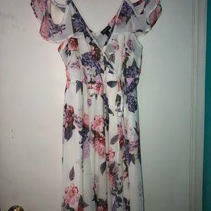 Torrid Floral Cold Shoulder Chiffon Dress